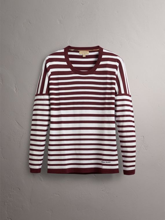 Graduated Stripe Merino Wool Sweater in Russet/natural White - Women | Burberry - cell image 3