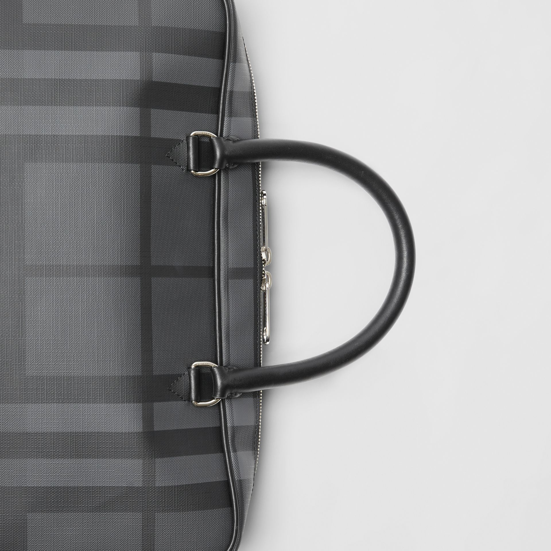 London Check and Leather Briefcase in Charcoal/black - Men | Burberry Australia - gallery image 1