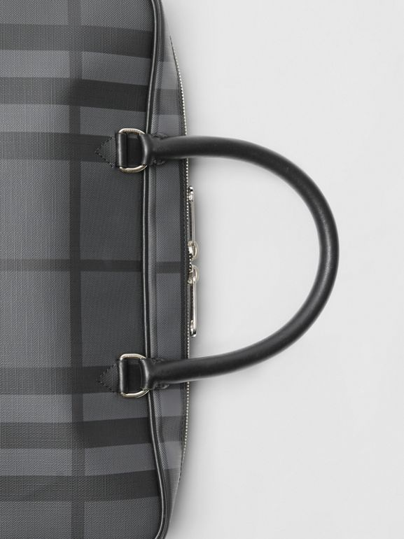 London Check and Leather Briefcase in Charcoal/black - Men | Burberry - cell image 1
