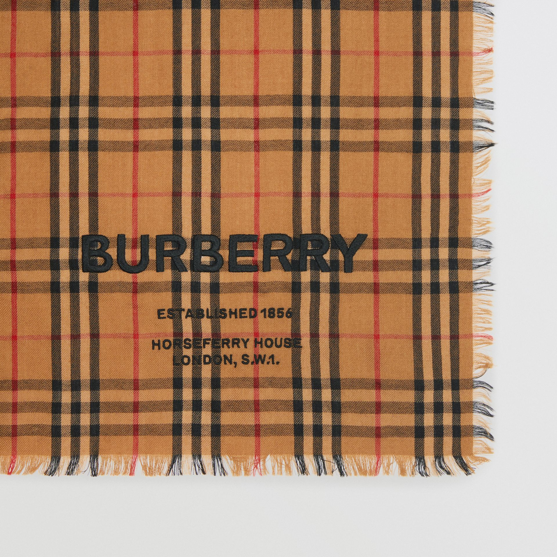 Embroidered Vintage Check Lightweight Cashmere Scarf in Camel | Burberry - gallery image 1