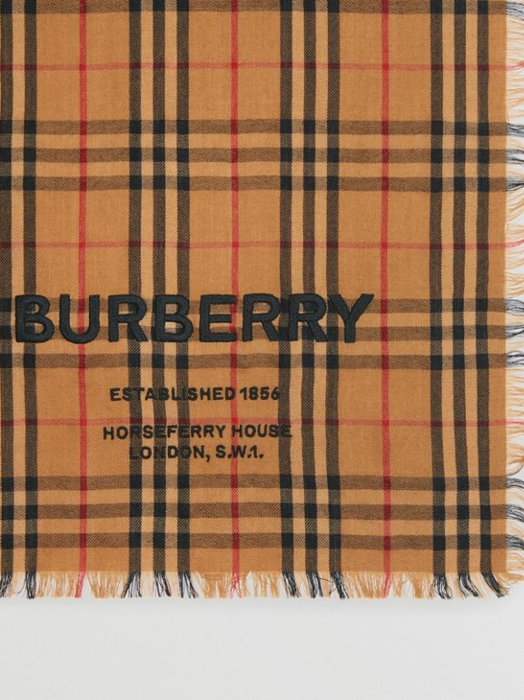 Embroidered Vintage Check Lightweight Cashmere Scarf in Camel | Burberry - cell image 1
