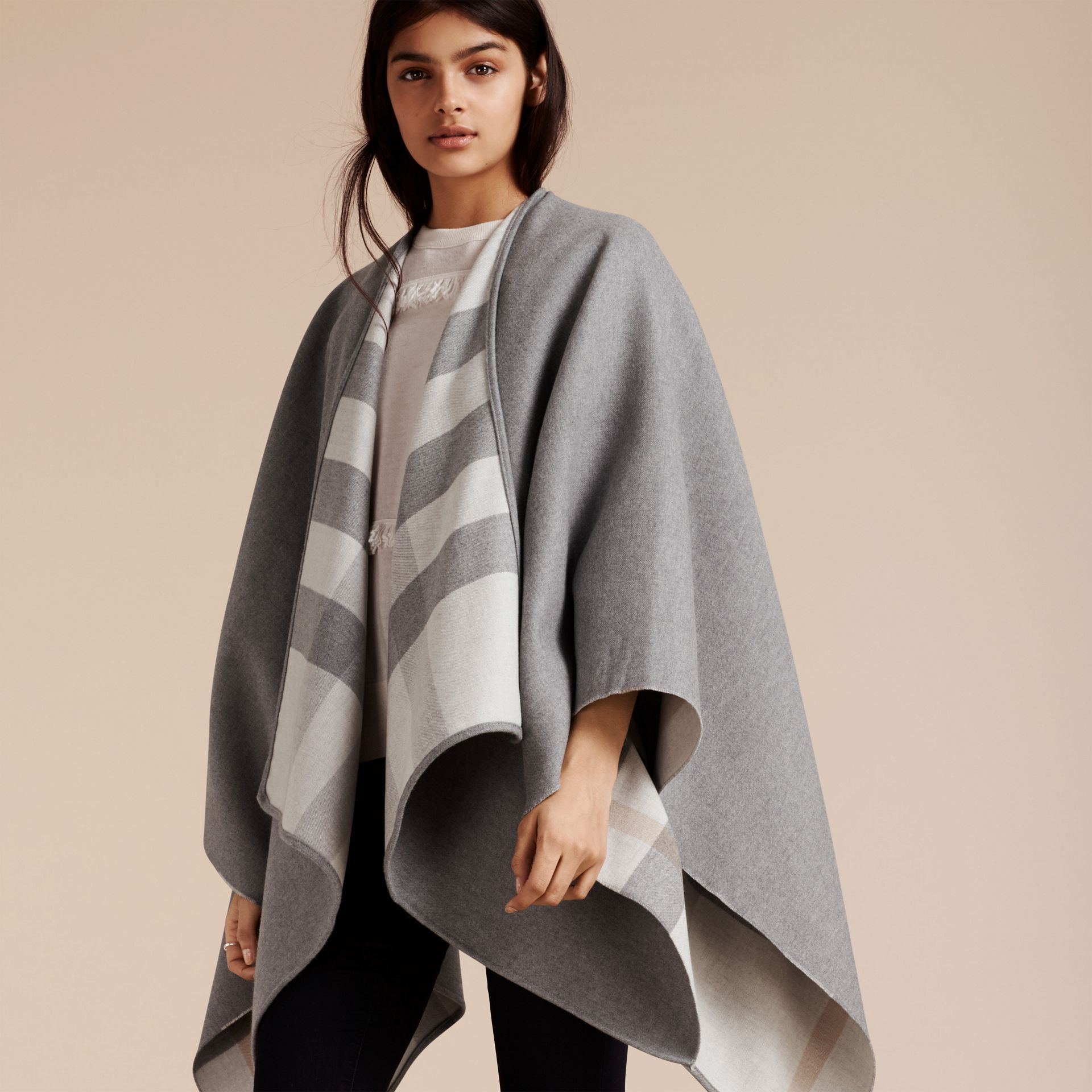 Reversible Check Merino Wool Poncho Light Grey - gallery image 7