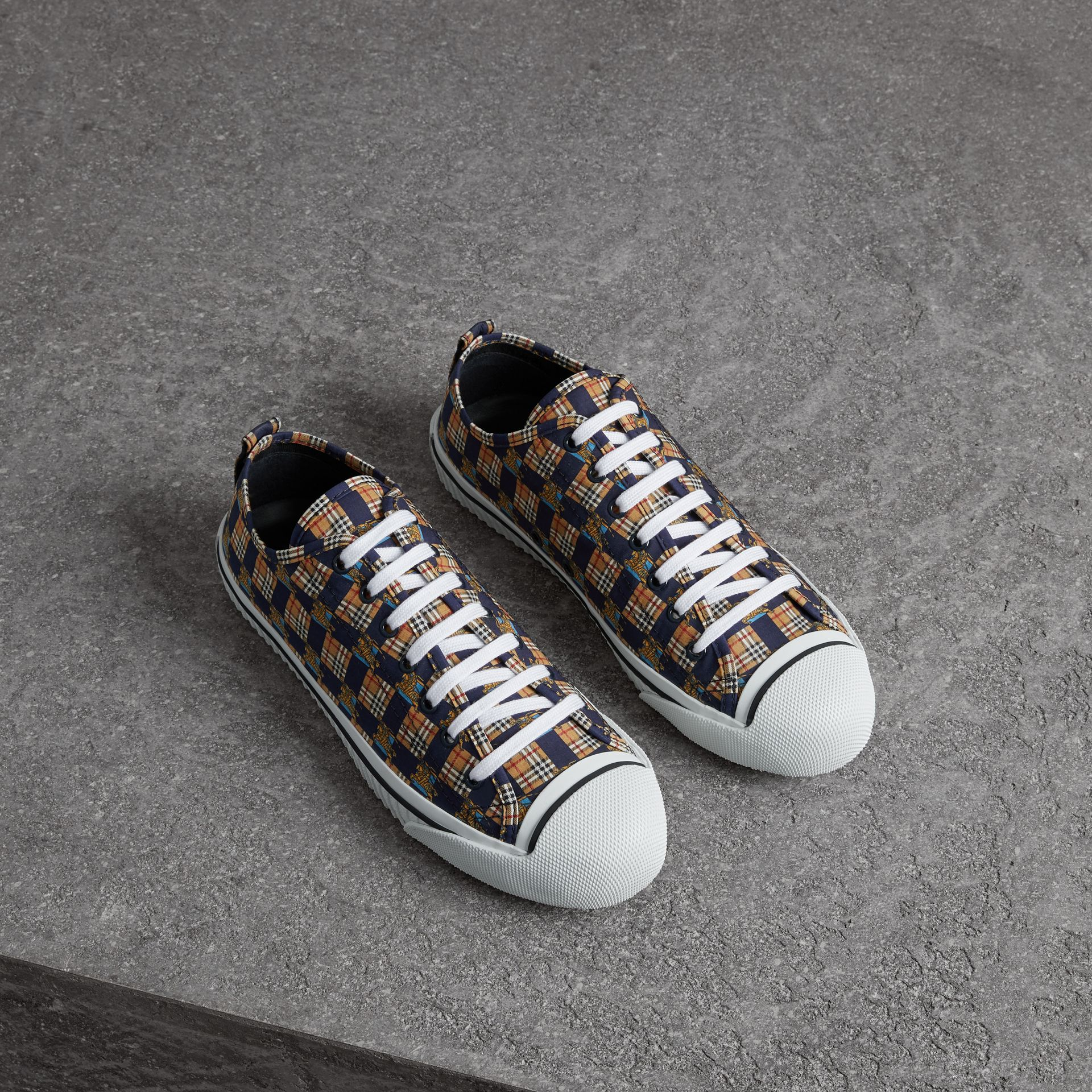 Tiled Archive Print Cotton Sneakers in Navy | Burberry - gallery image 0