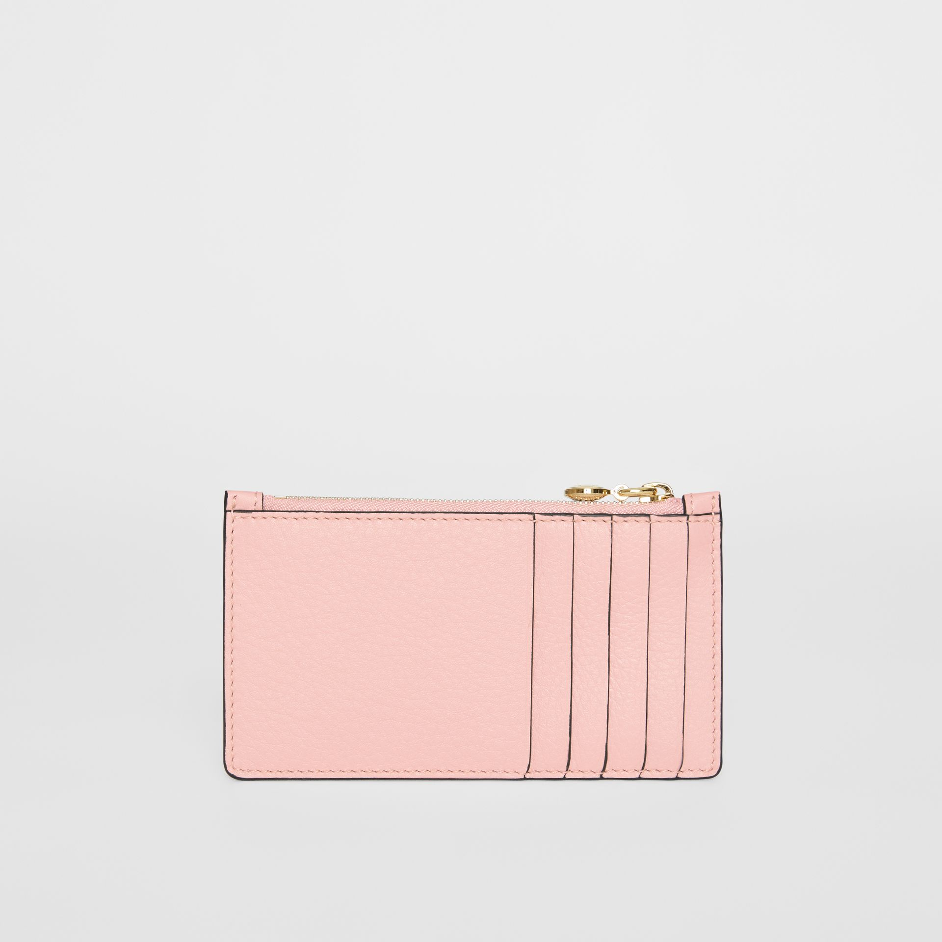 Leather Zip Card Case in Pale Ash Rose | Burberry - gallery image 4