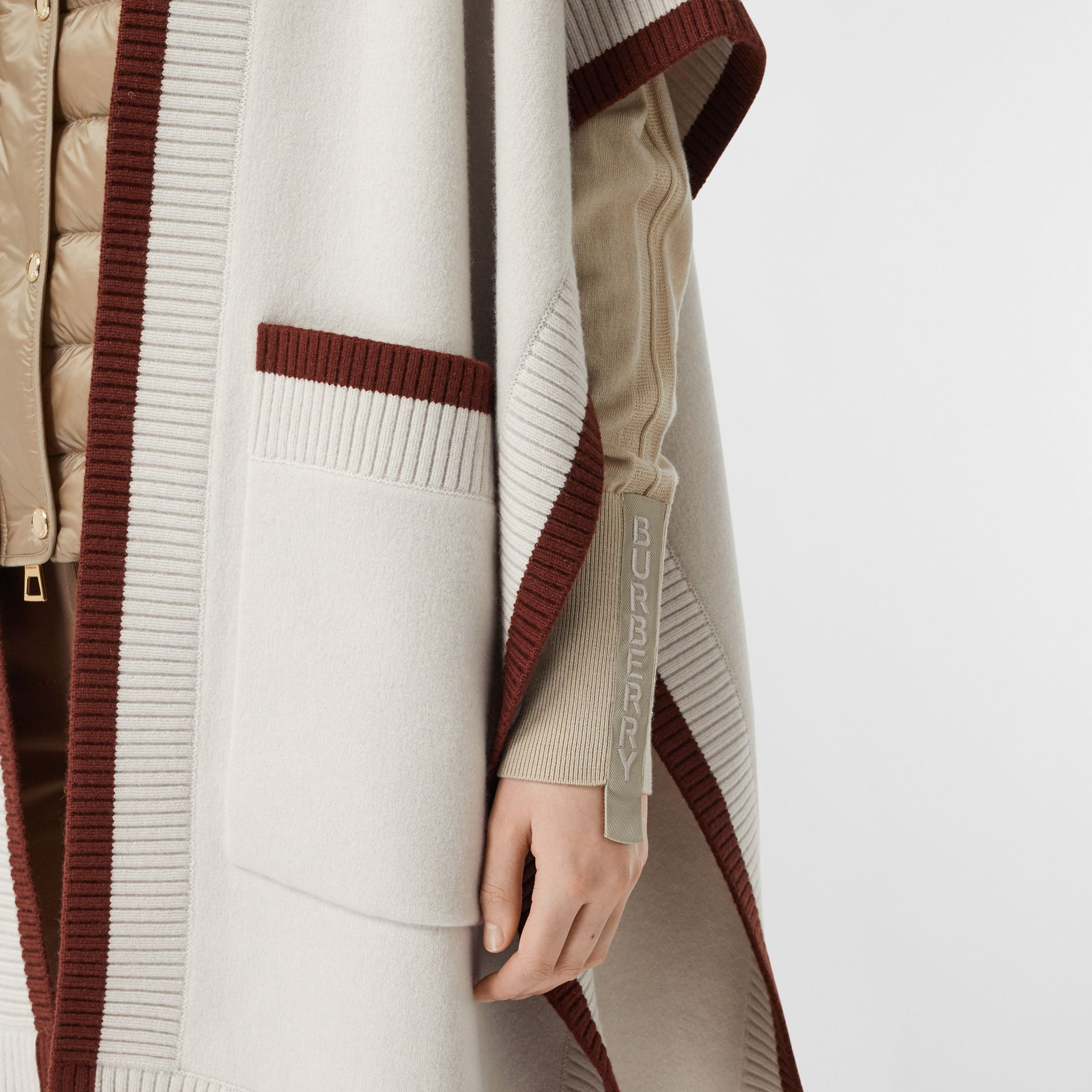 Logo Graphic Wool Cashmere Jacquard Hooded Cape in Canvas - Women | Burberry - gallery image 1