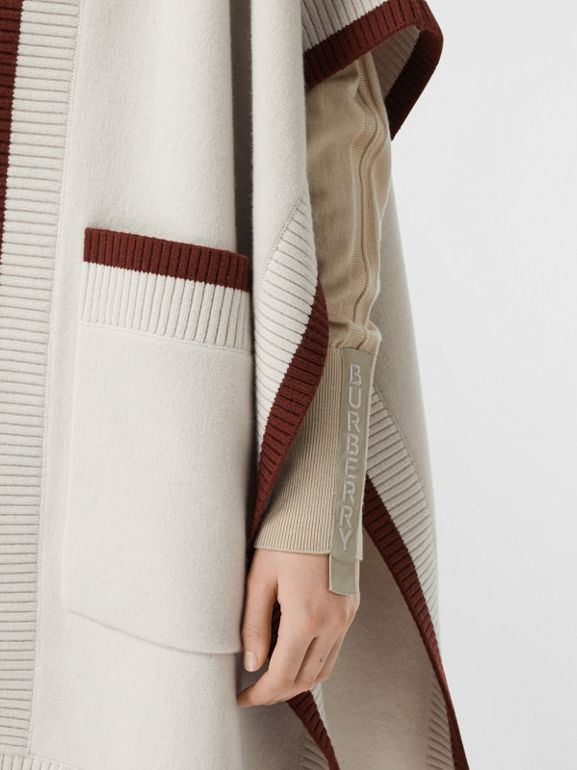 Logo Graphic Wool Cashmere Jacquard Hooded Cape in Canvas - Women | Burberry - cell image 1