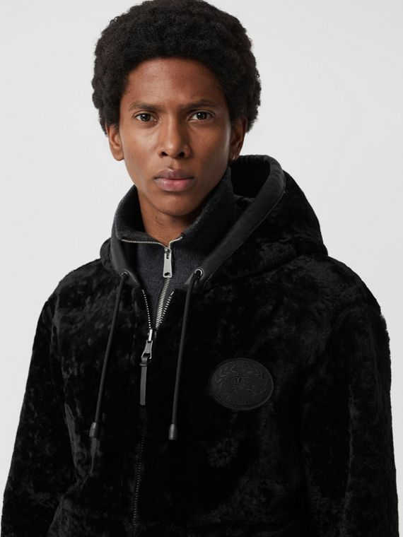 Reversible Shearling Hooded Bomber Jacket in Black