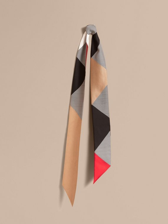 Colour Block and Striped Silk Slim Scarf in Camel