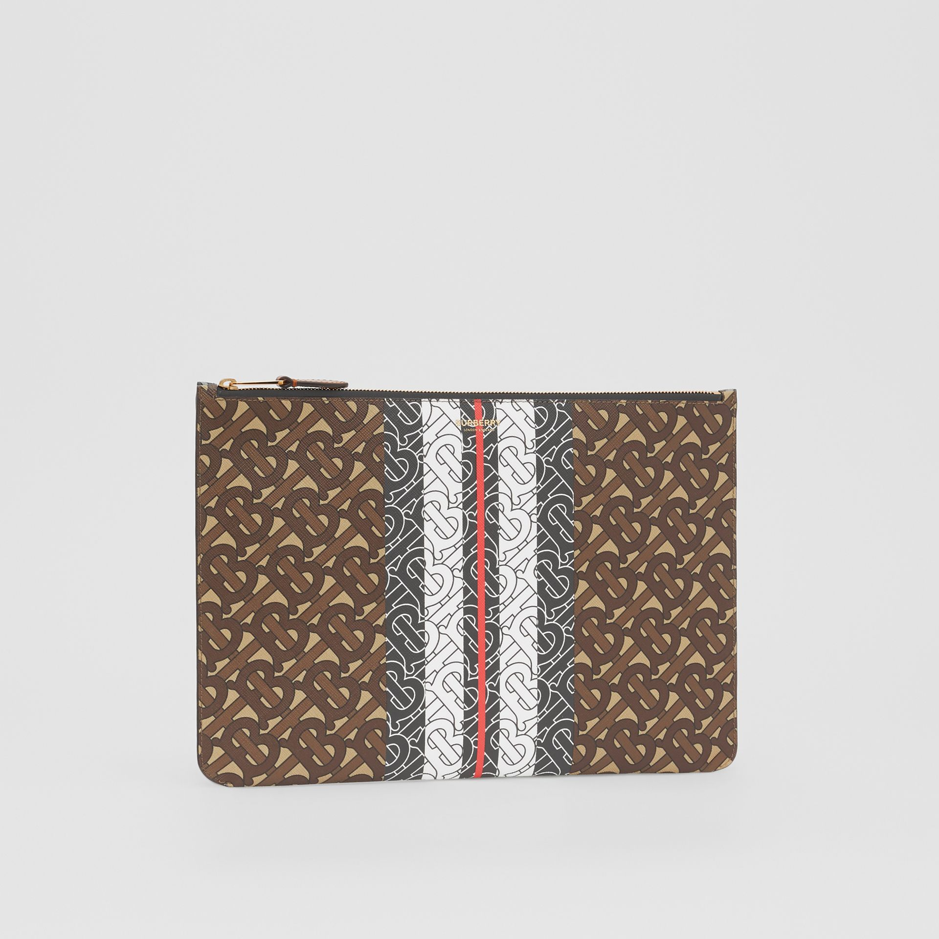 Monogram Stripe E-canvas Pouch in Bridle Brown - Women   Burberry Hong Kong S.A.R - gallery image 5