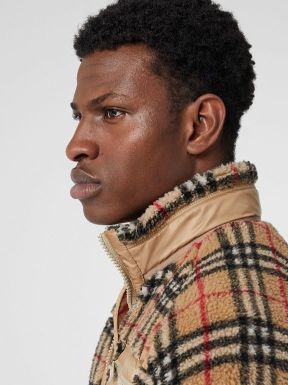 Vintage Check Faux Shearling Jacket in Archive Beige - Men | Burberry - cell image 1