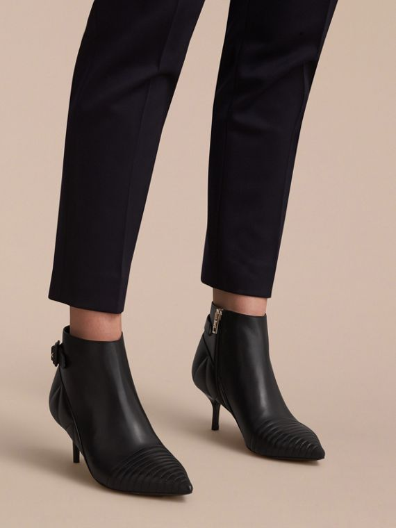 Quilted Leather Ankle Boots in Black - Women | Burberry Hong Kong - cell image 2
