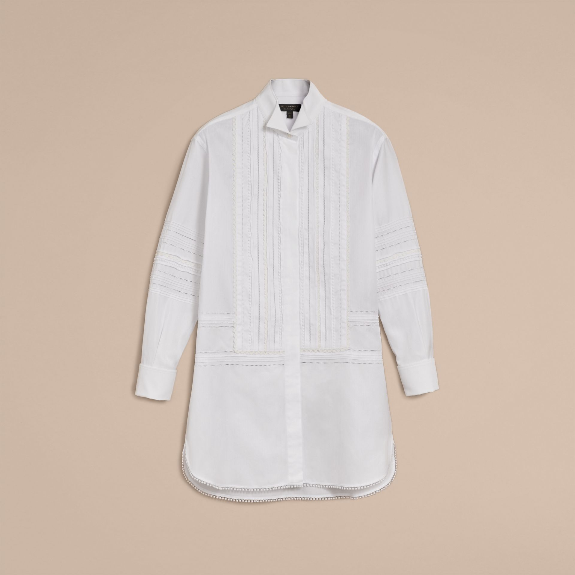 Pintuck and Macramé Trim Cotton Shirt Dress in White - Women | Burberry United Kingdom - gallery image 4