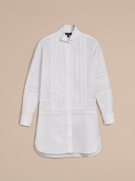 Pintuck and Macramé Trim Cotton Shirt Dress in White - Women | Burberry - cell image 3