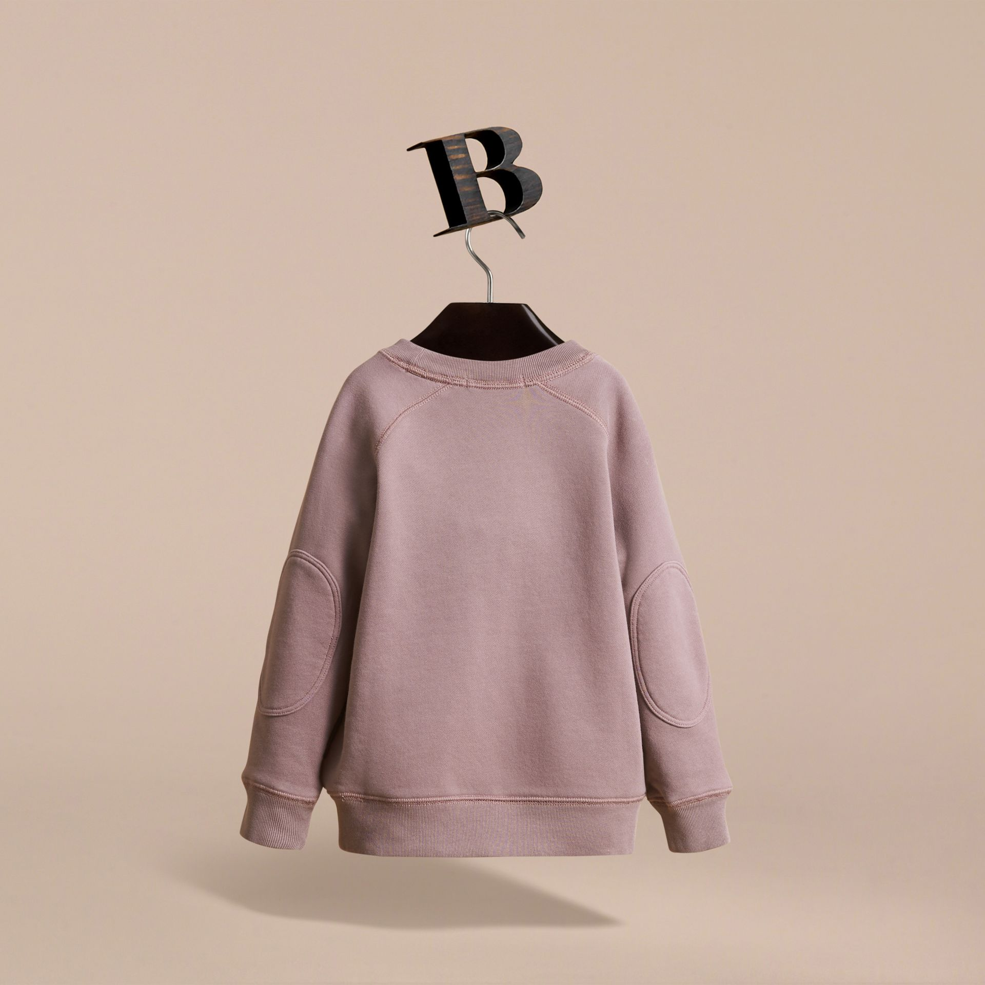 Pigment-dyed Cotton Jersey Sweatshirt in Dusty Mauve | Burberry - gallery image 4