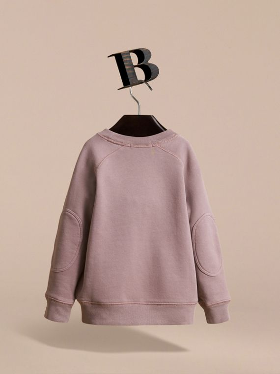 Pigment-dyed Cotton Jersey Sweatshirt in Dusty Mauve | Burberry - cell image 3