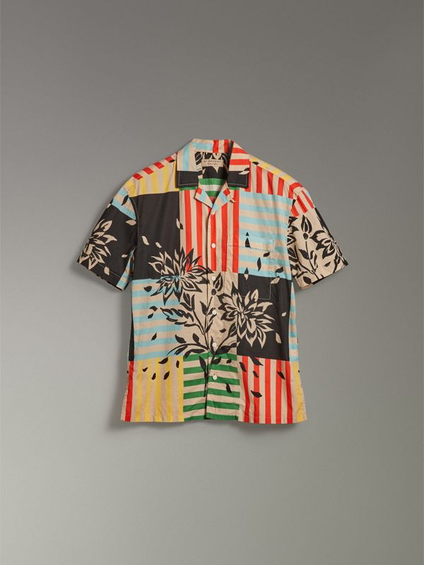Short-sleeve Floral Stripe Print Cotton Shirt in Steel Blue - Men | Burberry - cell image 3