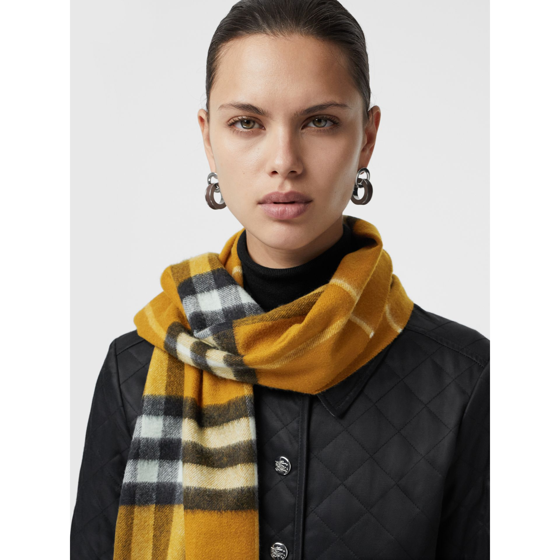 The Classic Check Cashmere Scarf in Umber Yellow | Burberry - gallery image 5