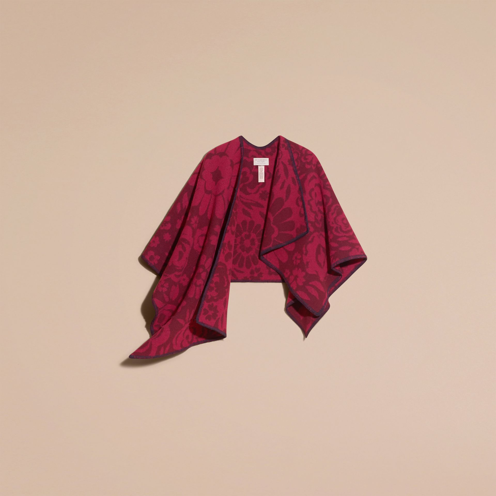 Plum Floral Jacquard Wool Cashmere Poncho - gallery image 4