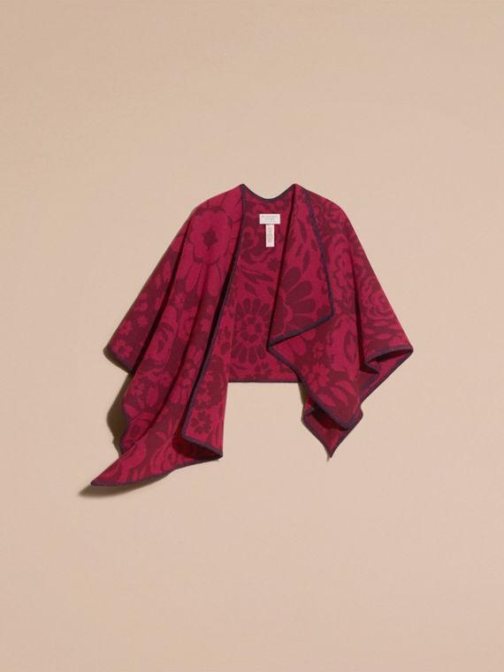 Plum Floral Jacquard Wool Cashmere Poncho - cell image 3