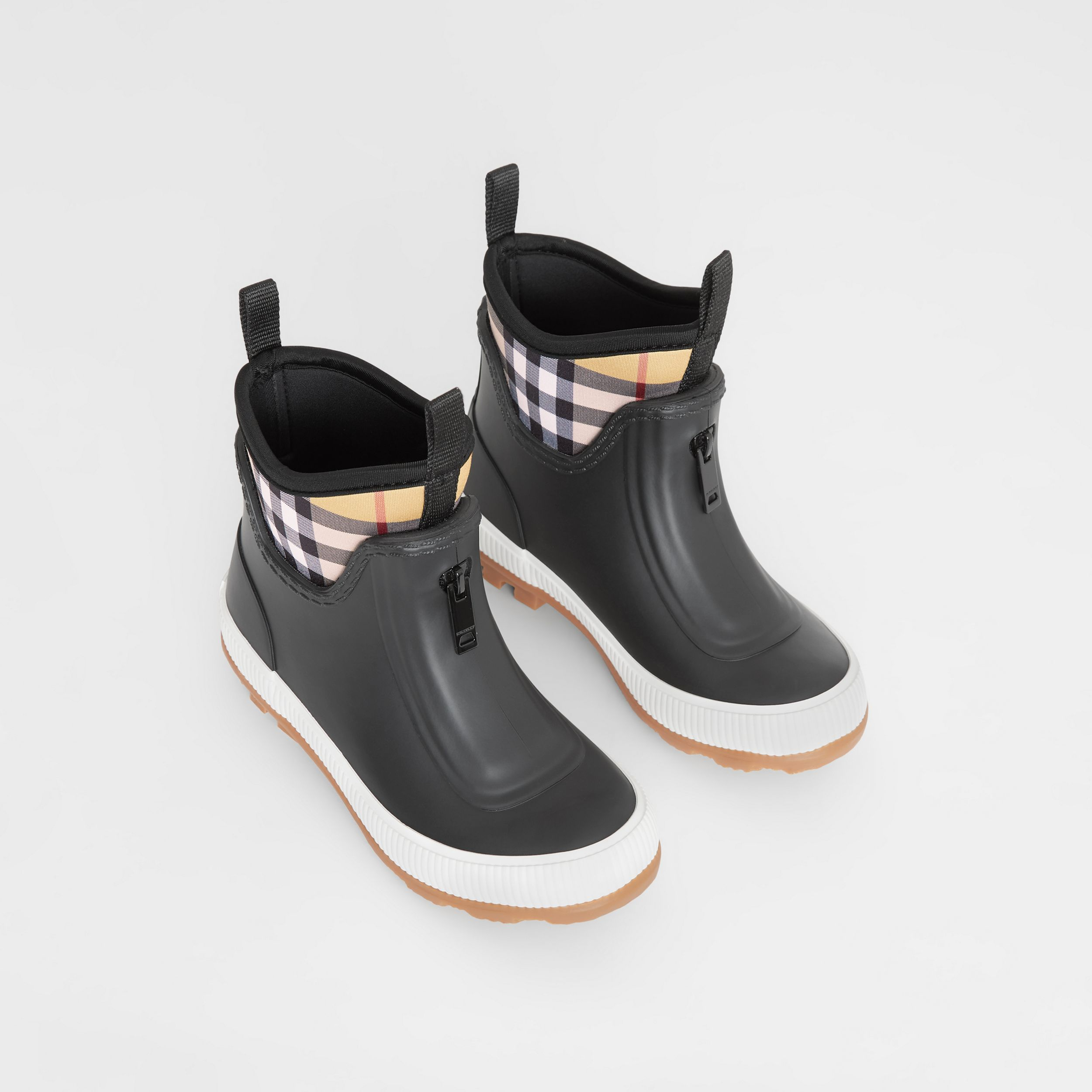 Vintage Check Neoprene and Rubber Rain Boots in Black - Children | Burberry - 1