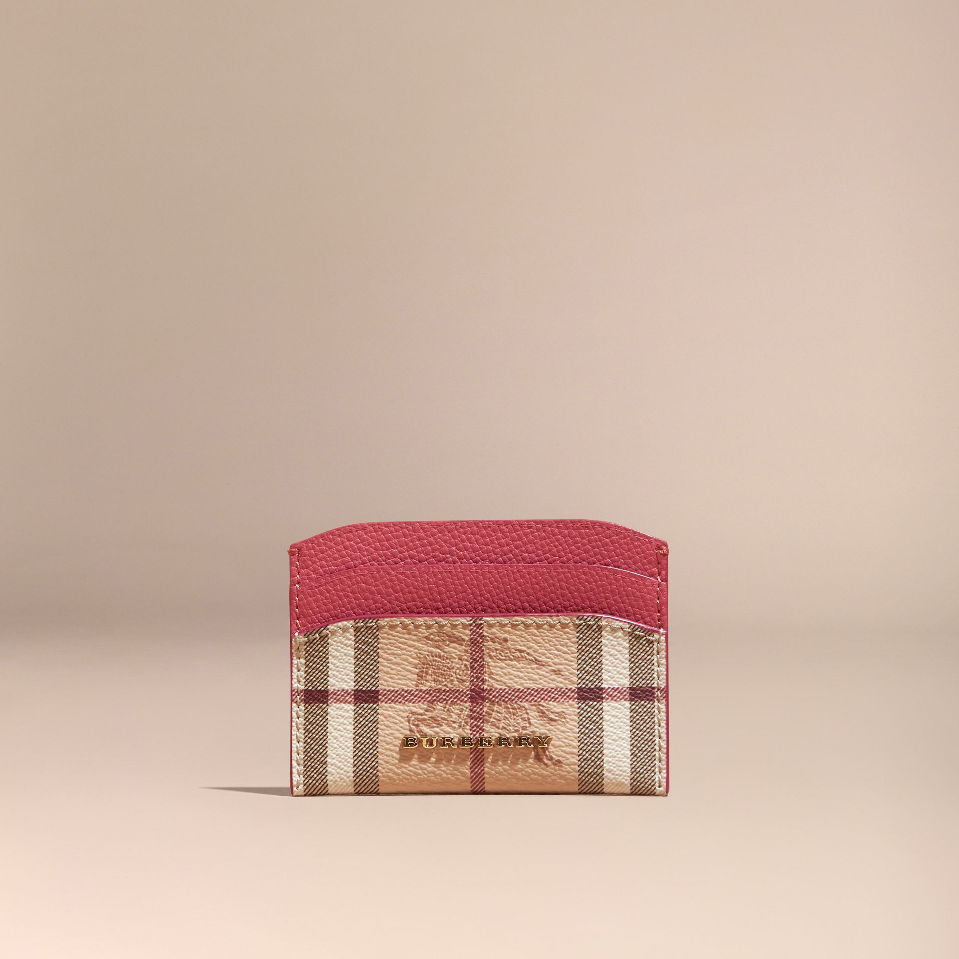 Haymarket Check and Leather Card Case in Plum Pink - Women | Burberry - gallery image 6