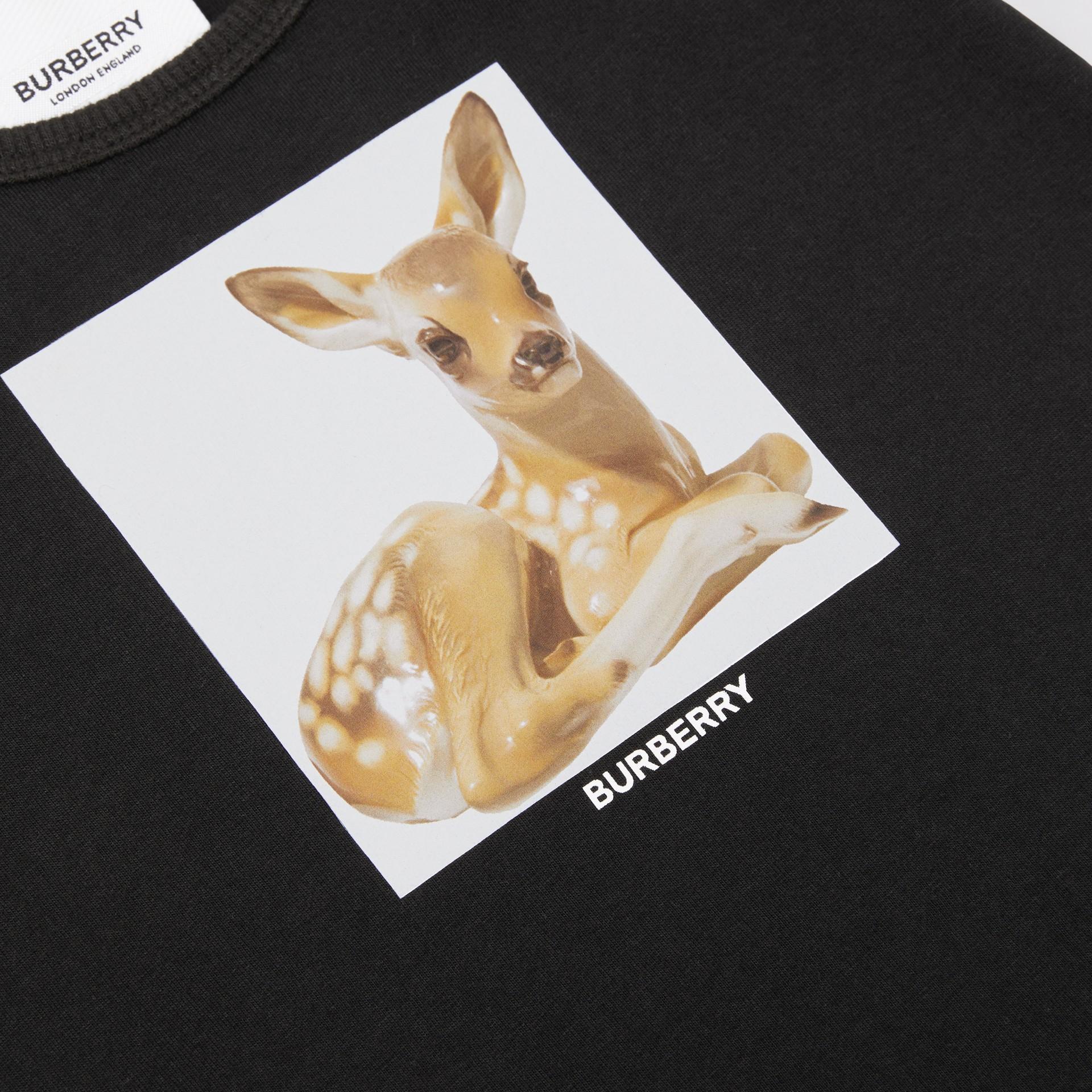 Deer Print Cotton Jumpsuit in Black - Children | Burberry Hong Kong S.A.R - gallery image 1