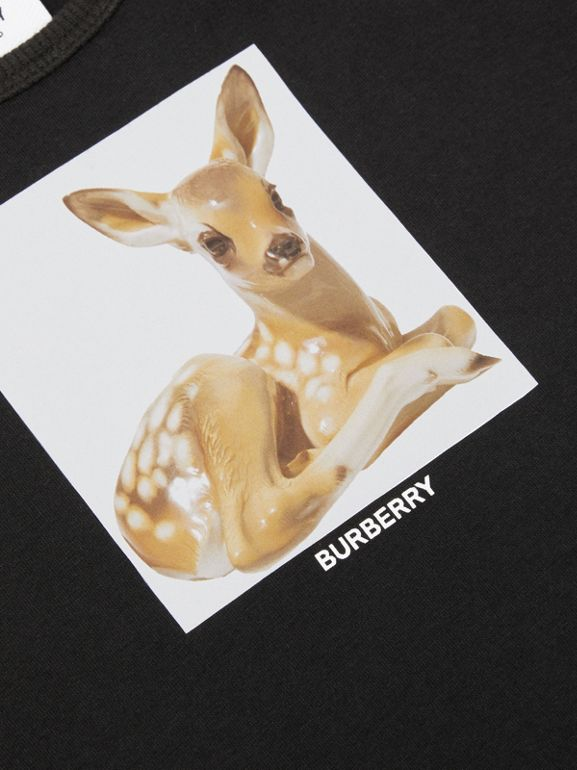 Deer Print Cotton Jumpsuit in Black - Children | Burberry Hong Kong S.A.R - cell image 1