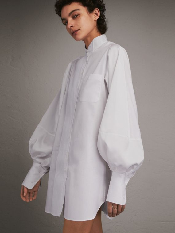 Herringbone Cotton Shirt Dress with Voluminous Sleeves