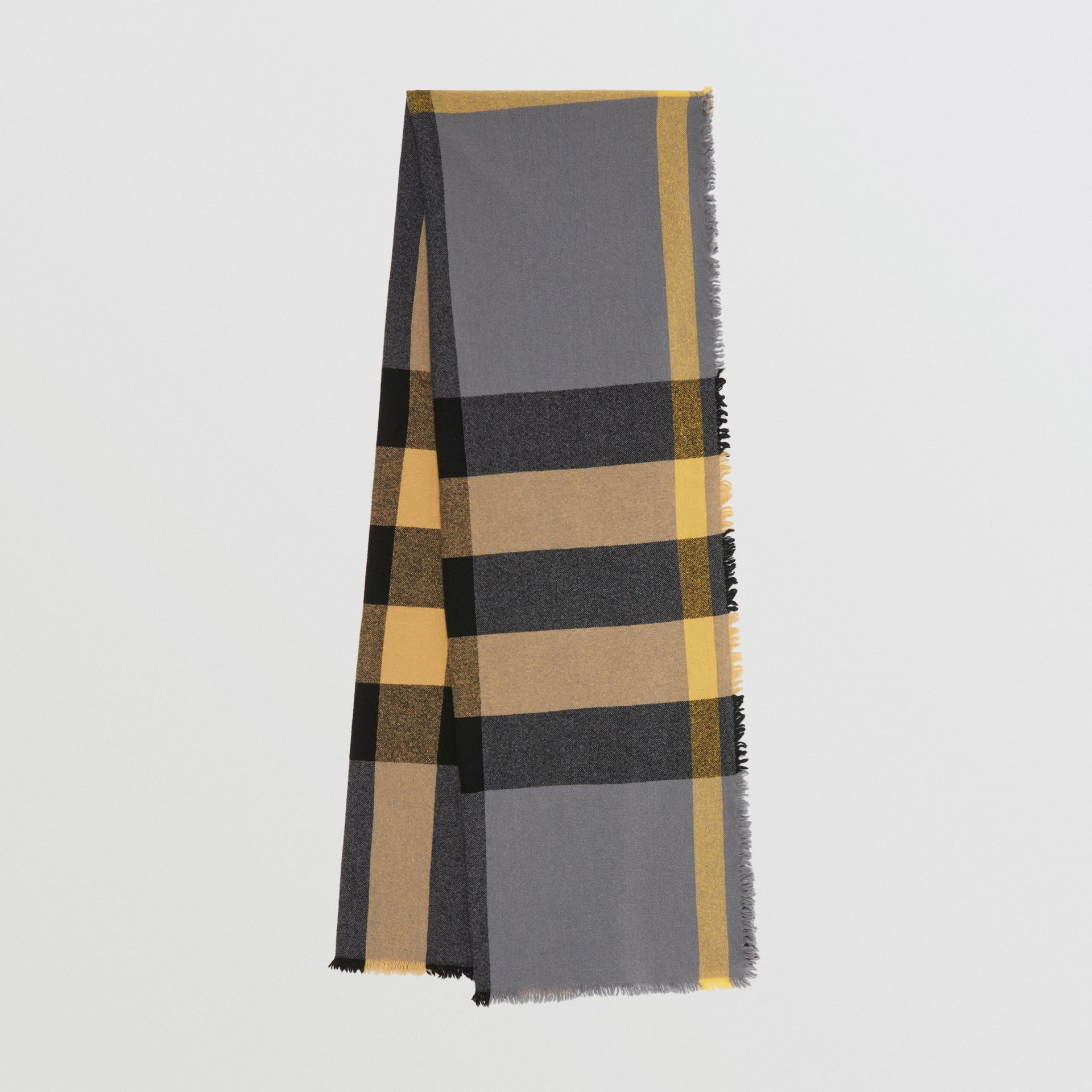 Fringed Check Wool Cashmere Scarf in Pewter Grey | Burberry - gallery image 0