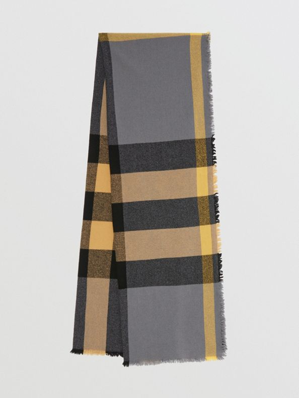 Fringed Check Wool Cashmere Scarf in Pewter Grey