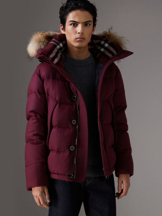 Detachable Fur Trim Hooded Down-filled Puffer Jacket in Dark Plum Melange