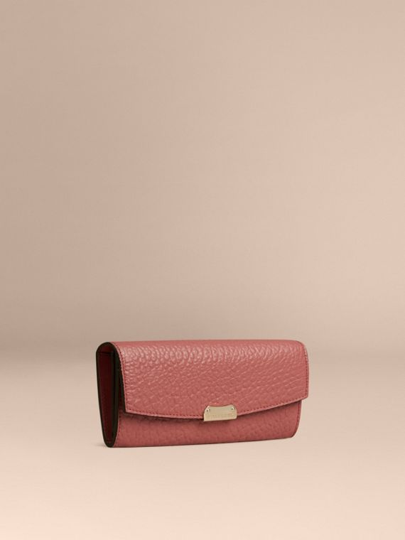Signature Grain Leather Continental Wallet Antique Rose