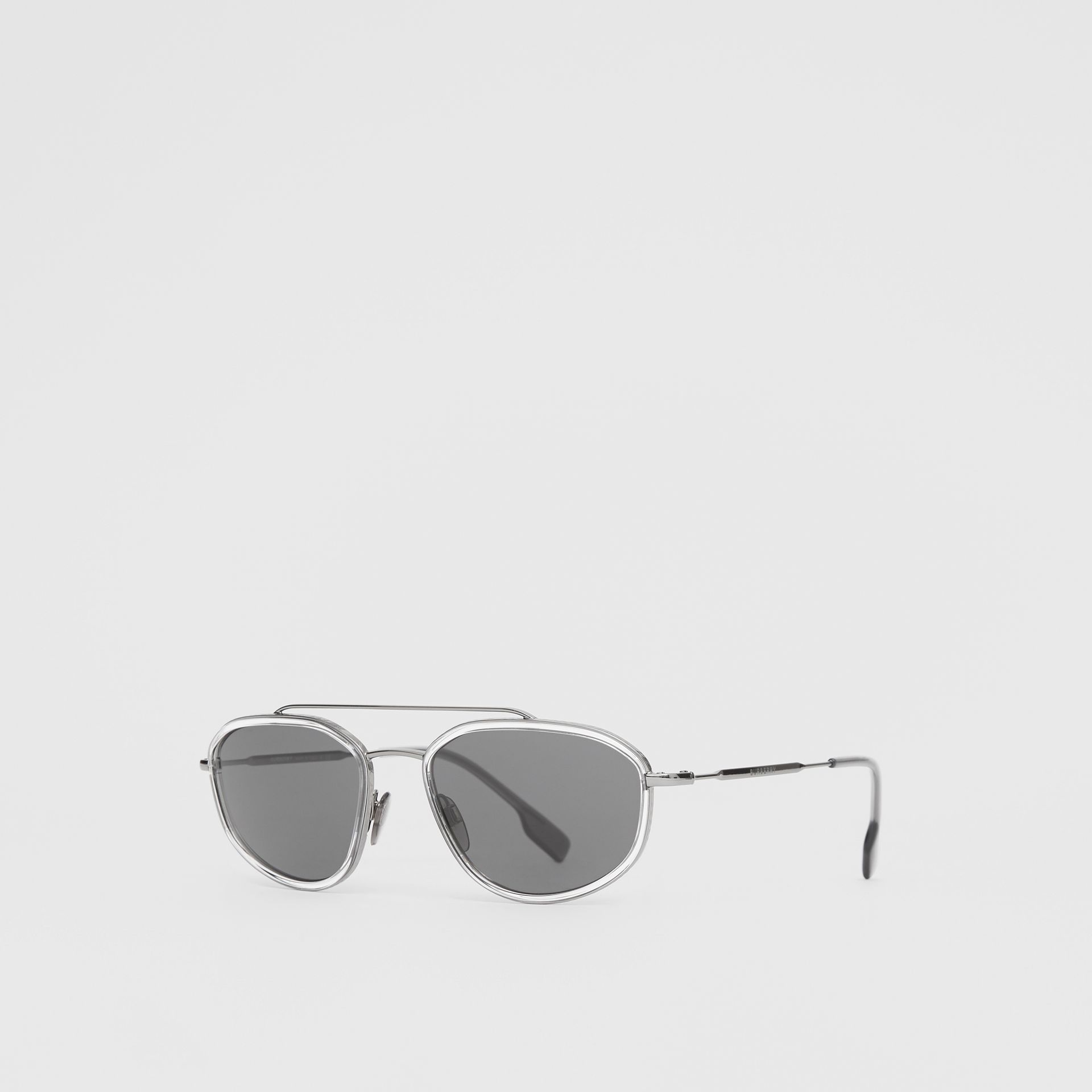 Geometric Navigator Sunglasses in Gunmetal Grey - Men | Burberry United Kingdom - gallery image 5