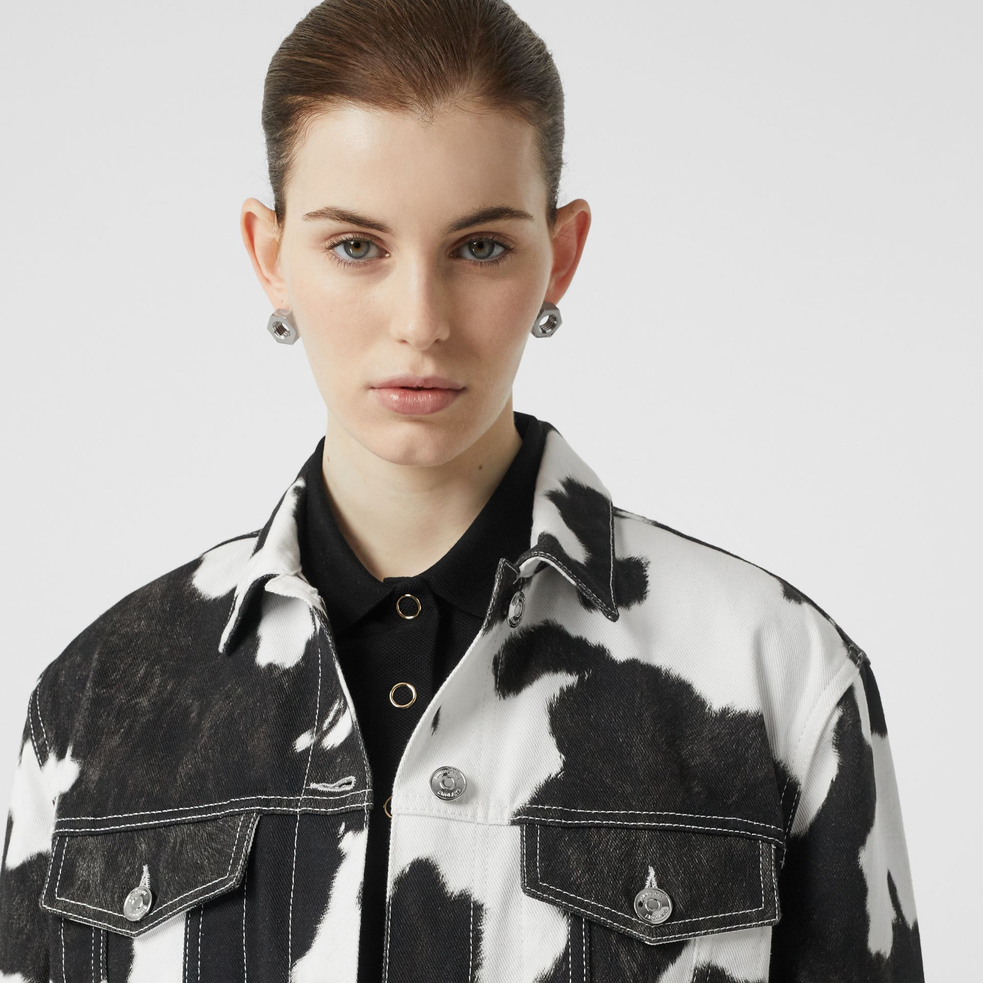 Cow Print Denim Jacket in Black - Women | Burberry - gallery image 1