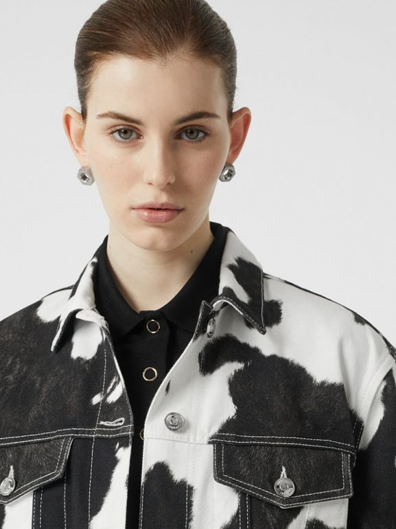 Cow Print Denim Jacket in Black - Women | Burberry - cell image 1