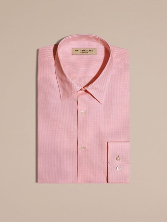Slim Fit Gingham Cotton Poplin Shirt City Pink