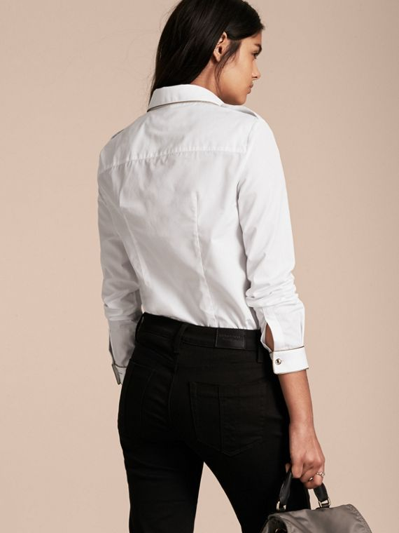 Piped Jacquard Cotton Shirt in White - cell image 2