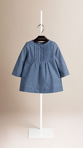 Pleat Detail Cotton Chambray A-line Dress