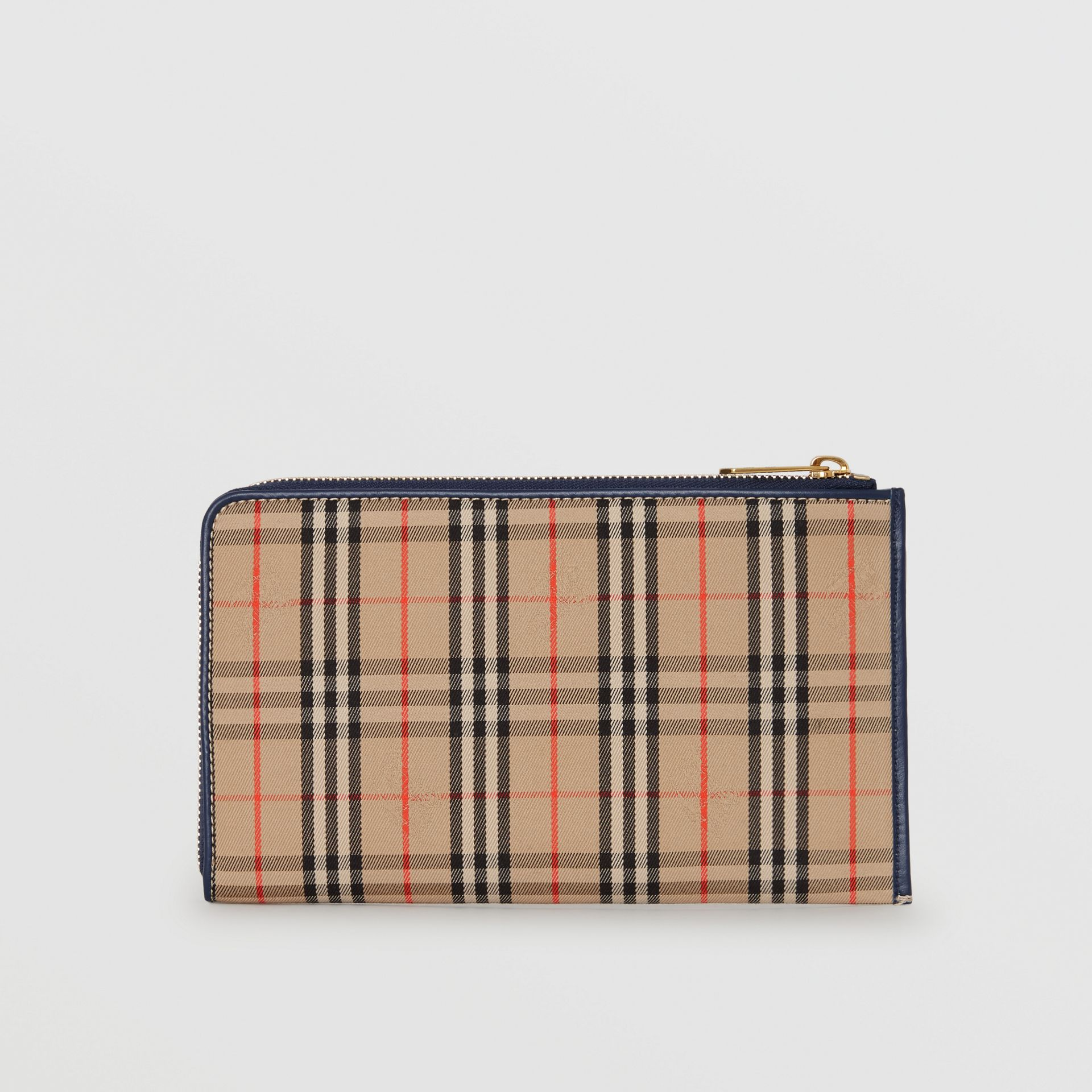 1983 Check and Leather Travel Wallet in Ink Blue - Men | Burberry - gallery image 6