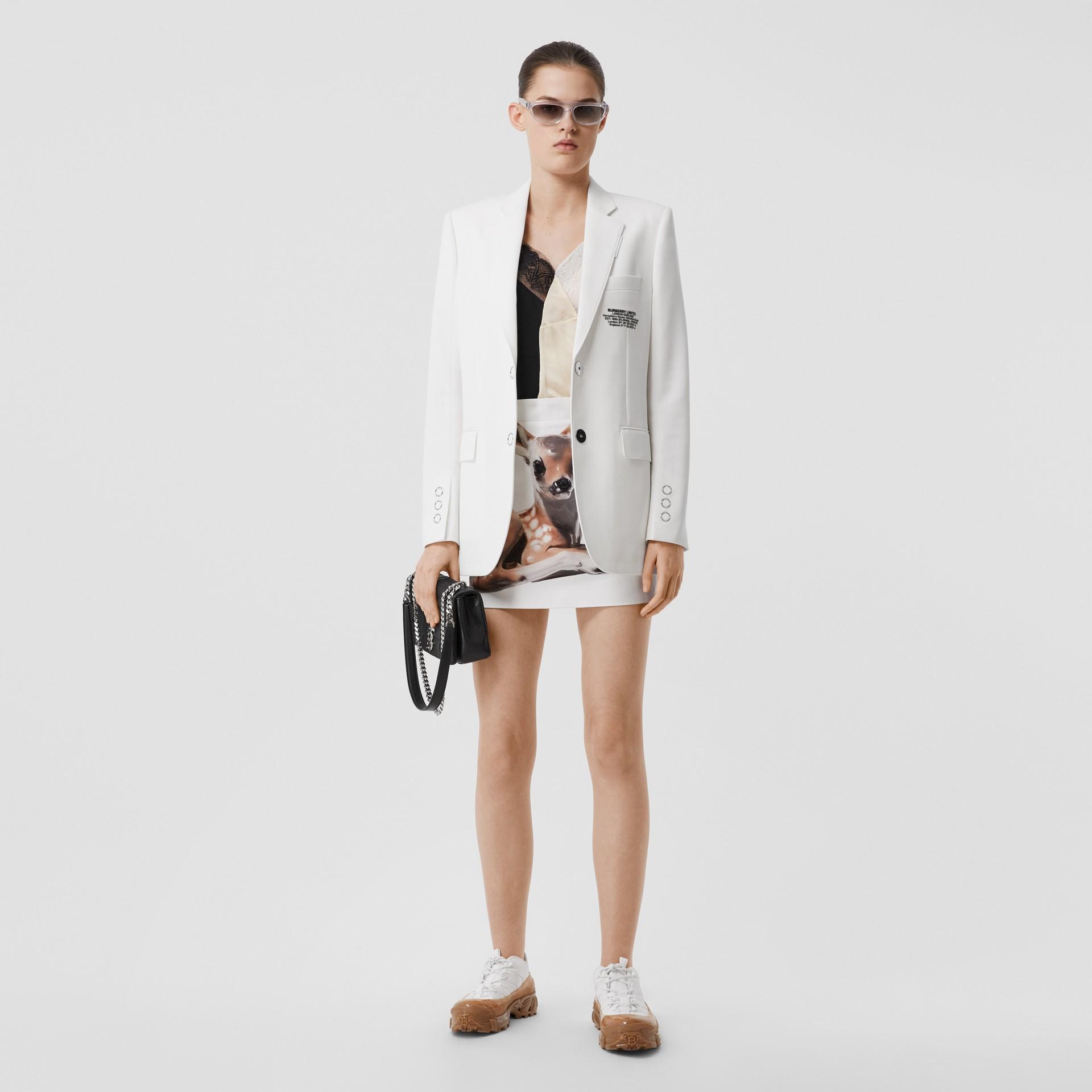 Deer Print Stretch Denim Mini Skirt in White - Women | Burberry - gallery image 0