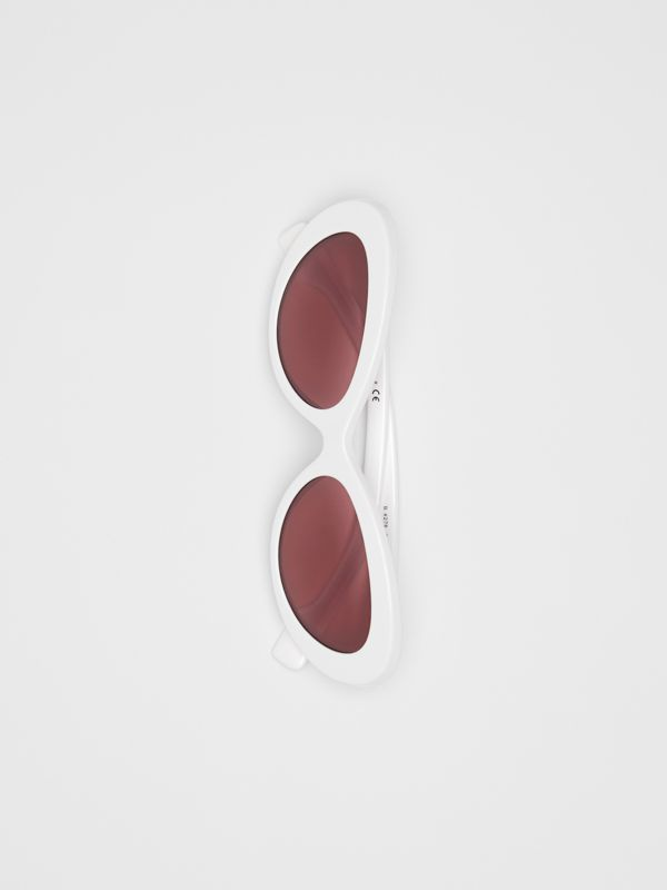 Cat-eye Frame Sunglasses in White - Women | Burberry - cell image 3