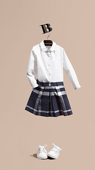 Pleated Check Cotton Skirt