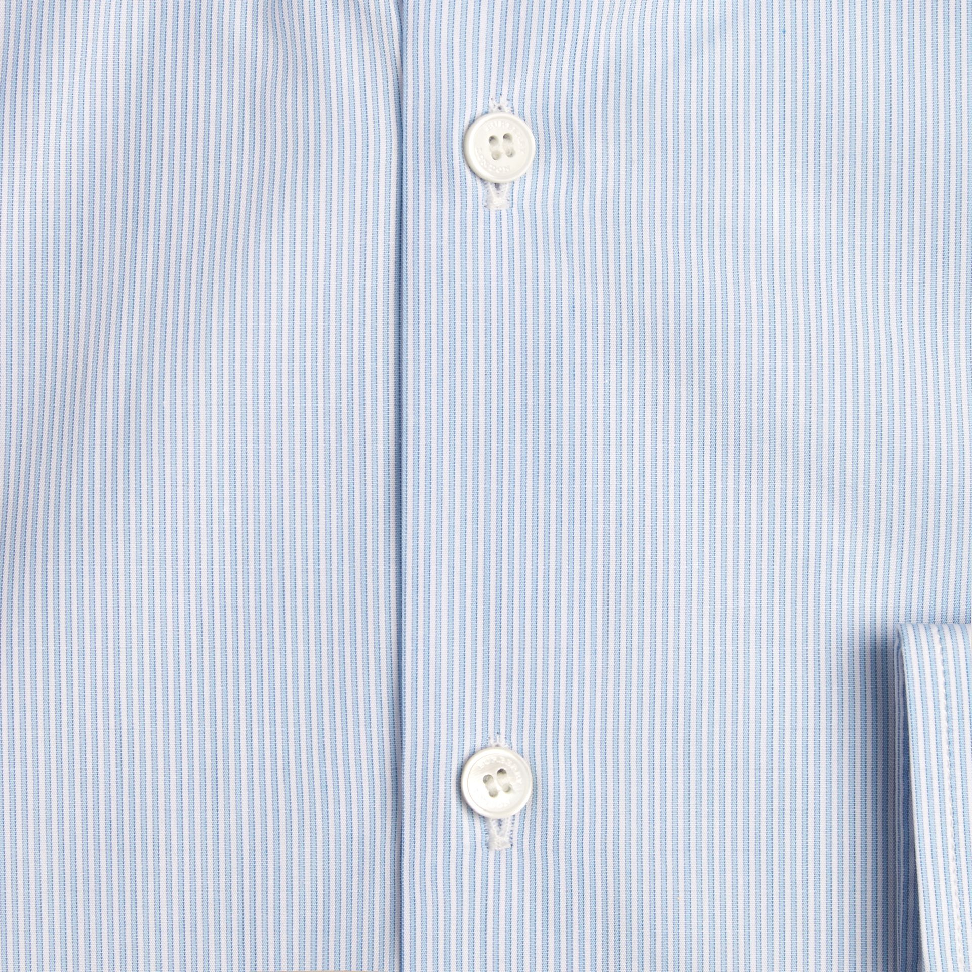 City blue Modern Fit Button-down Collar Striped Cotton Poplin Shirt - gallery image 2