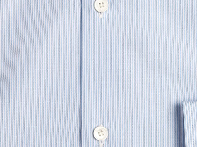 City blue Modern Fit Button-down Collar Striped Cotton Poplin Shirt - cell image 1