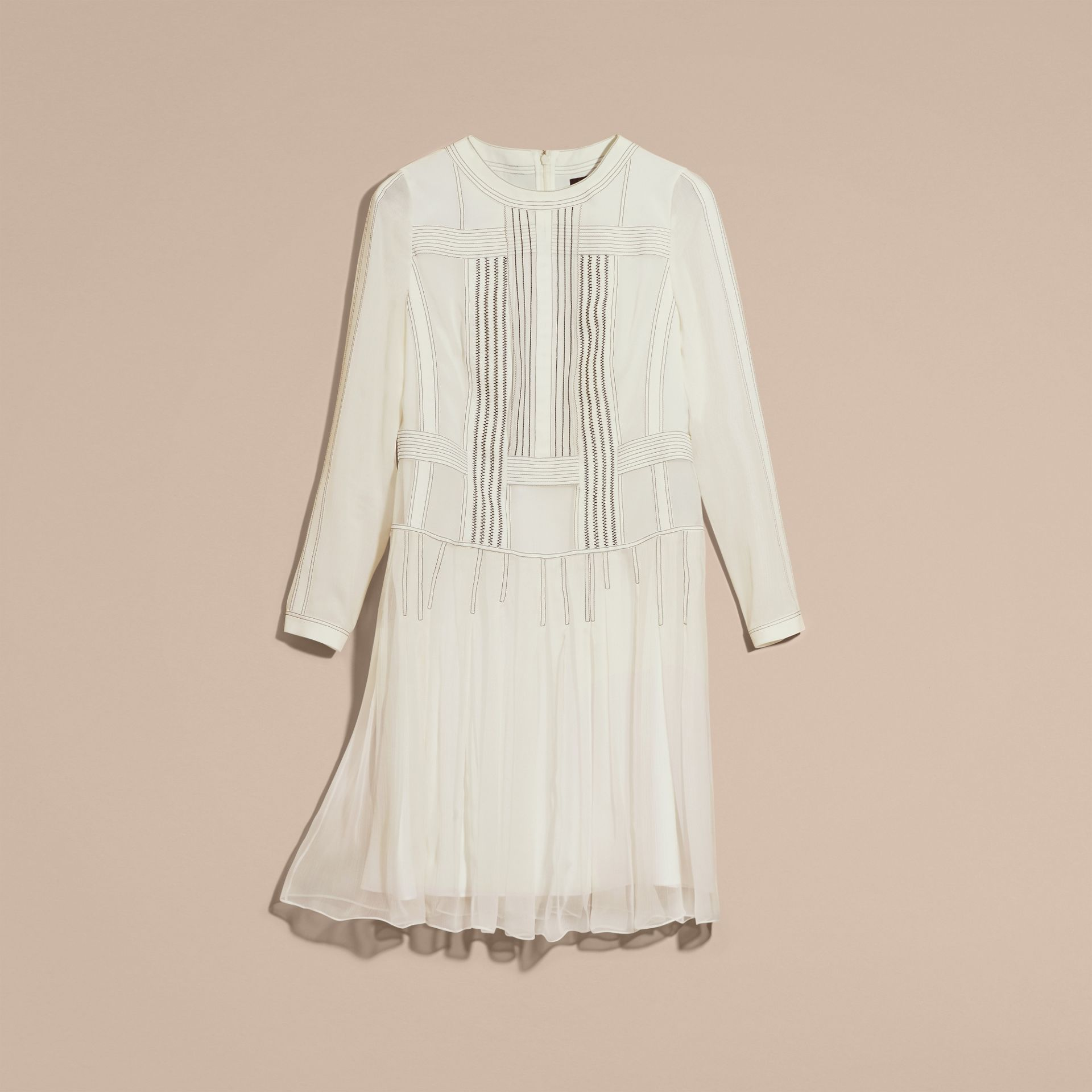 White Topstitched Panelled Silk Dress - gallery image 4