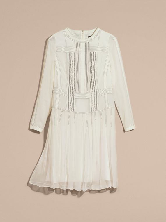 White Topstitched Panelled Silk Dress - cell image 3