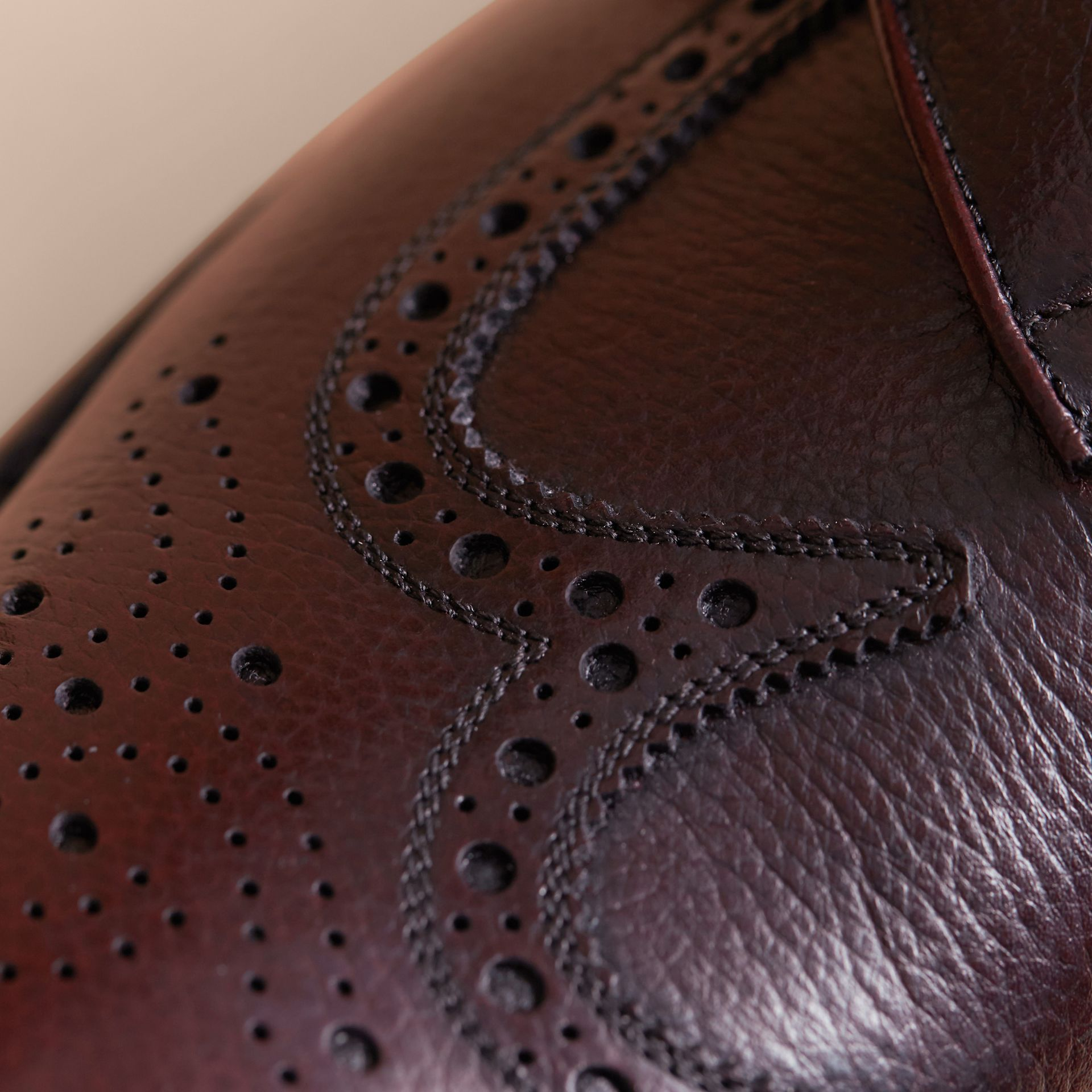 Leather Brogues with Asymmetric Closure in Burgundy - Men | Burberry - gallery image 2