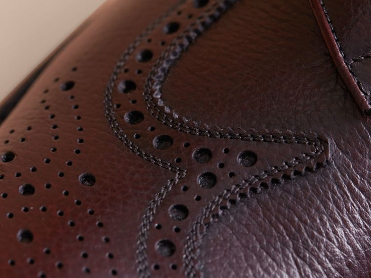 Leather Brogues with Asymmetric Closure in Burgundy - Men | Burberry - cell image 1