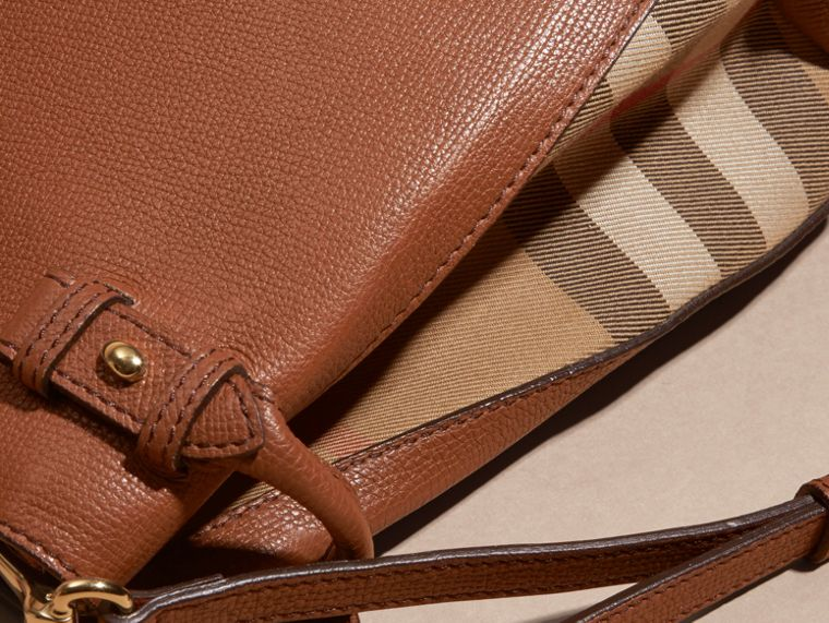 The Baby Banner in Leather and House Check in Tan - Women | Burberry - cell image 1