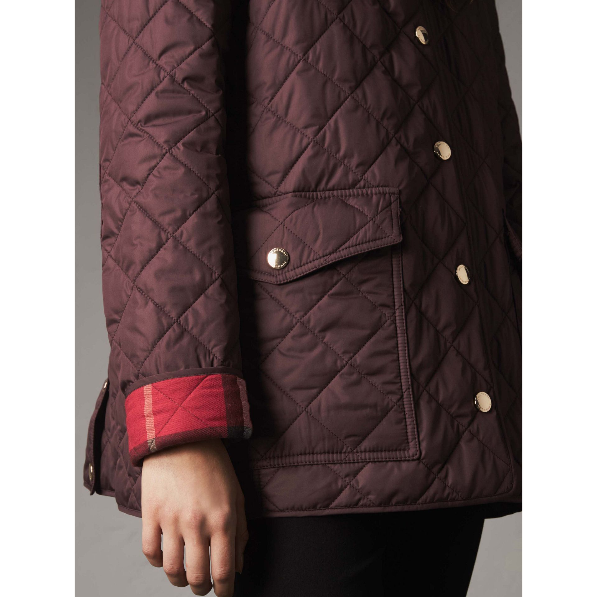 Check Detail Diamond Quilted Jacket in Burgundy - Women | Burberry Canada - gallery image 4